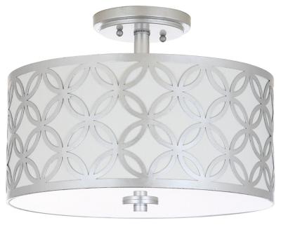 "Patterned Design 15"" Flush Mount Pendant Light, Silver Finish, large"