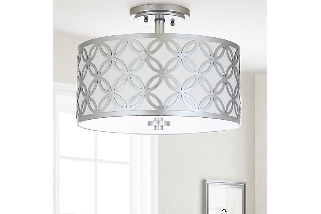 "Patterned Design 15"" Flush Mount Pendant Light, Silver Finish, large"
