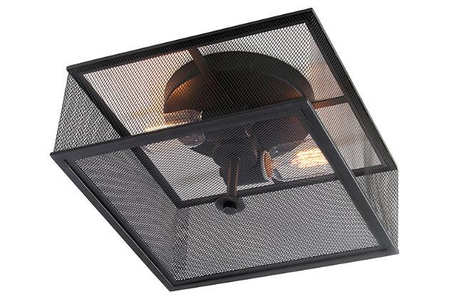 "Black Finish Industrial 12"" Flush Mount Pendant Light, , large"