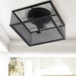 "Black Finish Industrial 12"" Flush Mount Pendant Light, , rollover"