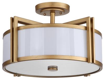 """Image of Acrylic Orb 17.15"""" Flush Mount Pendant Light, Antique Gold Finish"""