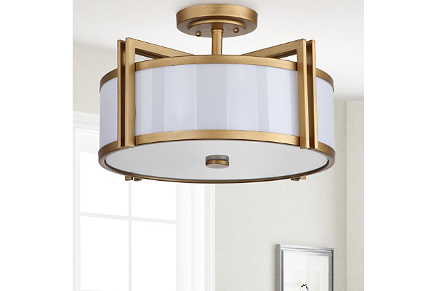 "Acrylic Orb 17.15"" Flush Mount Pendant Light, Antique Gold Finish, large"