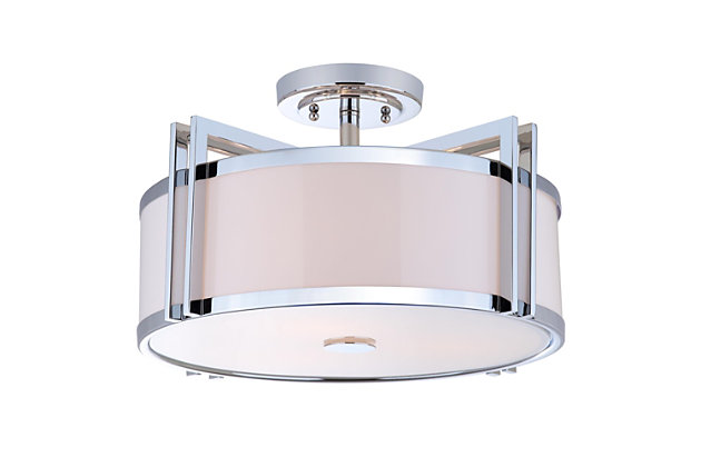 "Acrylic Orb 17.15"" Flush Mount Pendant Light, Chrome Finish, large"