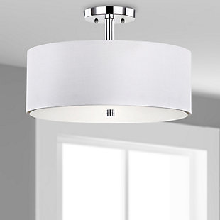 "Chrome Finish 16"" Flush Mount Pendant Light, , rollover"