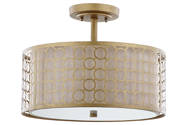 """Geometric Patterned 16"""" Flush Mount Pendant Light, , large"""