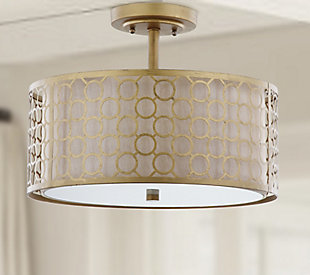 "Geometric Patterned 16"" Flush Mount Pendant Light, , rollover"