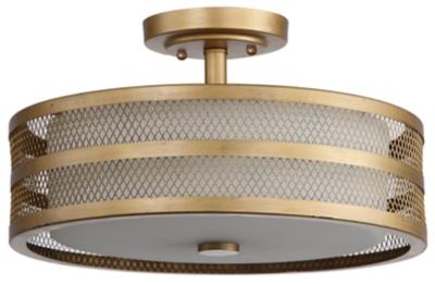 "Image of Mesh 3-Light 15.75"" Flush Mount Pendant Light, Antique Gold Finish"