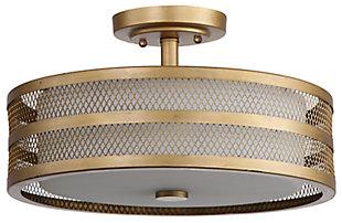"""Mesh 3-Light 15.75"""" Flush Mount Pendant Light, Antique Gold Finish, large"""