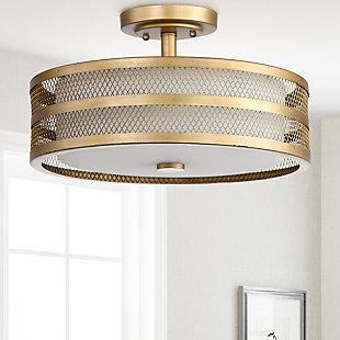"""Mesh 3-Light 15.75"""" Flush Mount Pendant Light, Antique Gold Finish, rollover"""