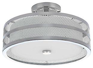 """Mesh 3-Light 15.75"""" Flush Mount Pendant Light, Chrome Finish, large"""