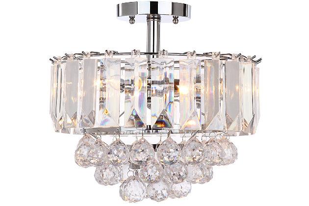 "Acrylic 3-Light 13.5"" Flush Mount Pendant Light, , large"