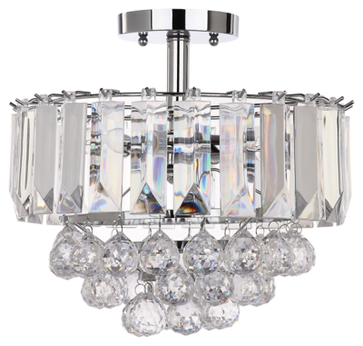 "Image of Acrylic 3-Light 13.5"" Flush Mount Pendant Light, Chrome Finish/Transparent"