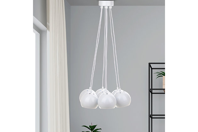 "Adjustable Length 17.75"" Pendant Light, White, large"