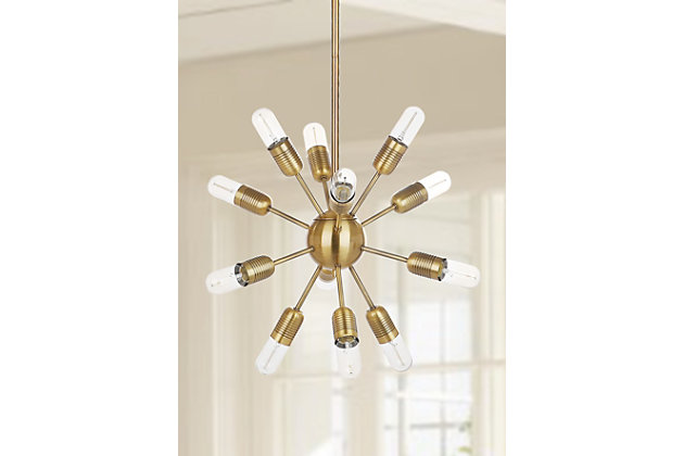 "Gold Finish Industrial 17.5"" Pendant Light, , large"