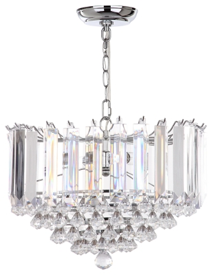 "Image of Adjustable Length 16.5"" Pendant Light, Chrome Finish/Transparent"