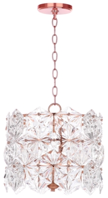 "Image of Adjustable Length 14"" Pendant Light, Copper Finish/Transparent"