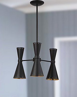 "Adjustable Length 18"" Pendant Light, Black/Gold Finish, large"