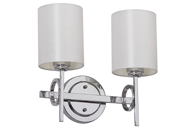 "Chrome Finish Double Light 13.25"" Wall Sconce, , large"