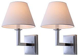 "Chrome Finish Modern 14"" Wall Sconce (Set of 2), , rollover"