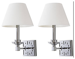 "Chrome Finish Modern 15"" Wall Sconce (Set of 2), Chrome Finish, rollover"