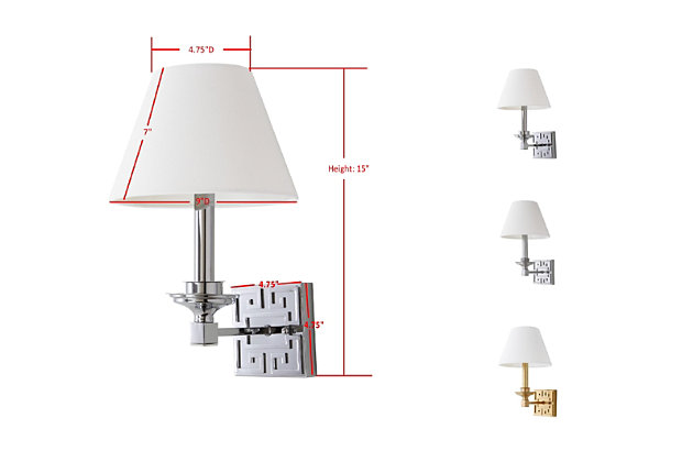 """Silver Finish Modern 15"""" Wall Sconce (Set of 2), Silver Finish, large"""