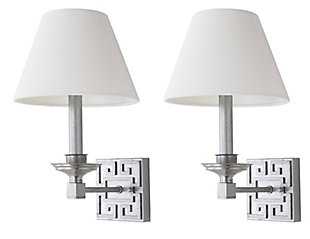 """Silver Finish Modern 15"""" Wall Sconce (Set of 2), , rollover"""