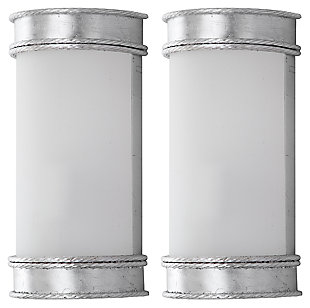 "Silver Finish Art Deco 12"" Wall Sconce (Set of 2), Silver Finish, large"