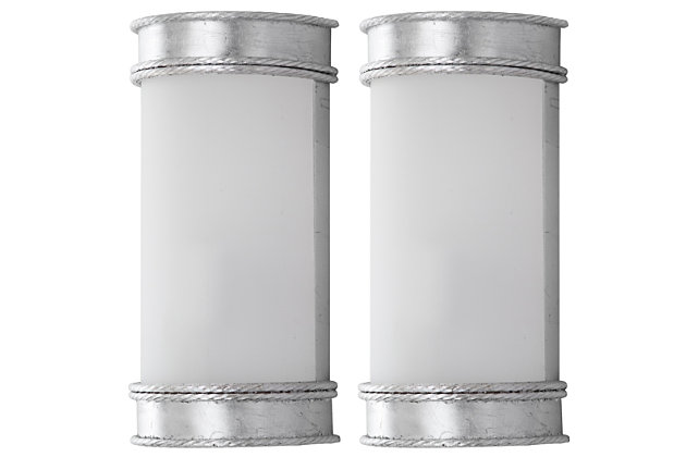 """Silver Finish Art Deco 12"""" Wall Sconce (Set of 2), , large"""