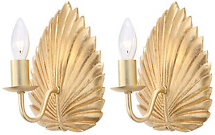 "Gold Finish Leaf 8"" Wall Sconce (Set of 2), , rollover"