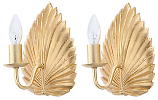 "Gold Finish Leaf 8"" Wall Sconce (Set of 2), , large"