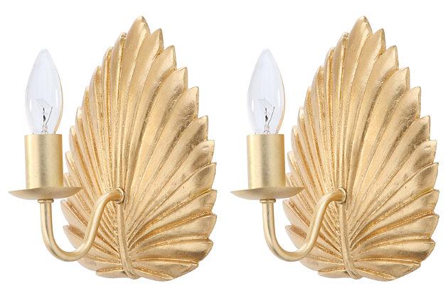 "Gold Finish Leaf 8"" Wall Sconce (Set of 2), , large"