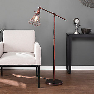 Industrial Flinn Floor Lamp, Brushed Copper Finish, rollover