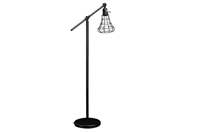 Industrial Flinn Floor Lamp, Matte Black, large
