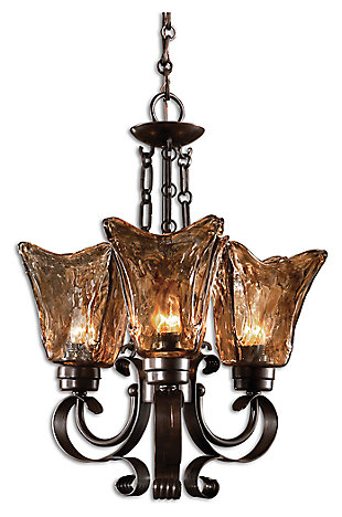 Handmade Glass Oil Rubbed Chandelier, , large