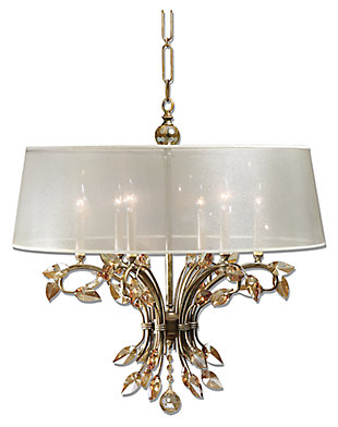 Crystal Leaves and Silken Shade Chandelier, , large