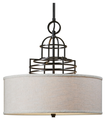 Image of Adjustable Height Drum Shade Pendant, Oil Rubbed Bronze Finish