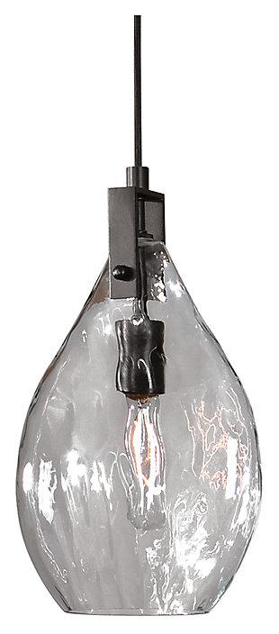 Teardrop Shaped Watered Glass Mini Pendant, , large