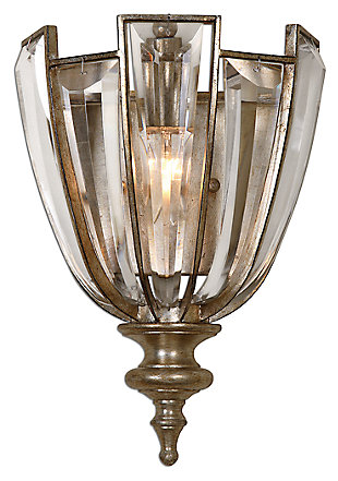 Crystal Beveled Light Crystal Wall Sconce, , large