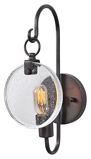 Oxidized Seeded Glass Wall Sconce, , large