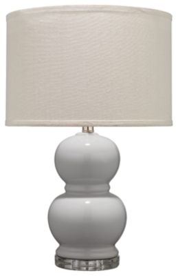 Image of Bubble Ceramic Table Lamp with Drum Shade, Gray