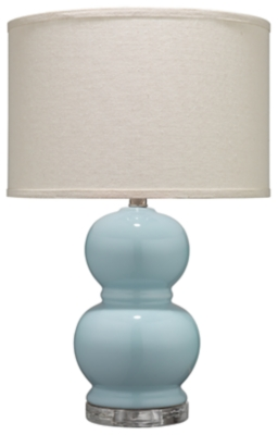 Image of Bubble Ceramic Table Lamp with Drum Shade, Blue