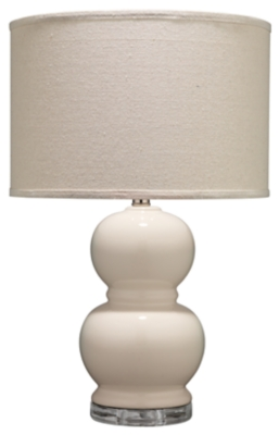 Image of Bubble Ceramic Table Lamp with Drum Shade, Cream