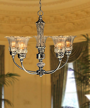 Home Accents Elegant Designs 5 Light Glass Ceiling Glacier Petal Chandelier, , rollover