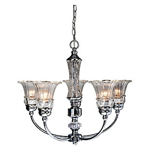 Home Accents Elegant Designs 5 Light Glass Ceiling Glacier Petal Chandelier, , large