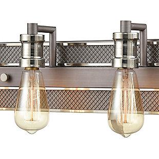 Steel Gridiron Vanity Light, Zinc/Nickel Finish, rollover