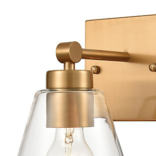 Steel East Point Vanity Light, Satin Brass Finish, rollover
