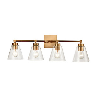 Steel East Point 4-Light Vanity Light, Satin Brass Finish, large