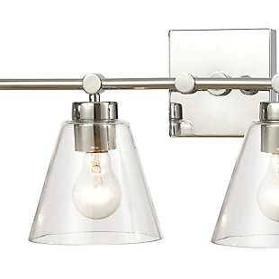 Steel East Point 3-Light Vanity Light, Polished Chrome Finish, rollover