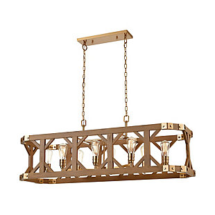 Post and Beam Structure 8-Light Island Chandelier, Brass/Oak Finish, rollover