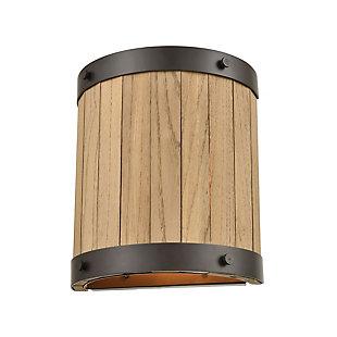 Steel Wooden Barrel Sconce, Bronze/Natural Finish, rollover